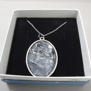 Silver Marble Oval Pendant Necklace