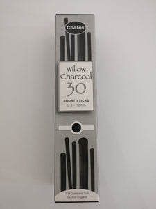 Coates Willow Charcoal 30 Assorted Half Sticks 3mm – 12mm