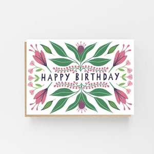 Happy Birthday - Floral Autumn Design - Greeting Card