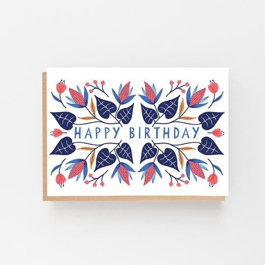 Happy Birthday Floral Winter Design - Greeting Card