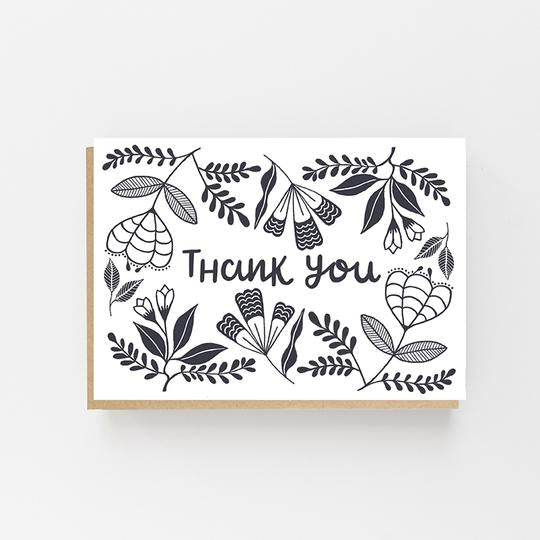 Thank You Folk Design - Greeting Card