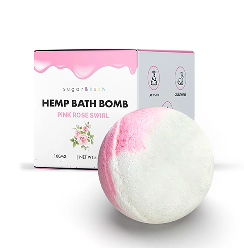 Pink Rose Swirl Hemp Bath Bomb