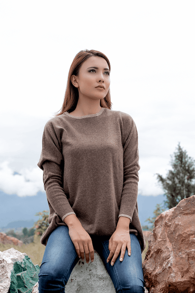 Brown Round-neck Women`s Sweater