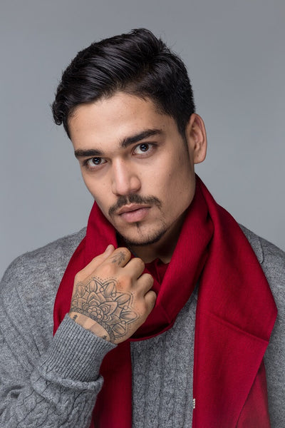 Men`s Red Scarf