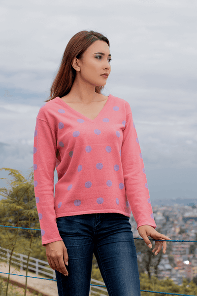 Women`s dott V-neck Sweater