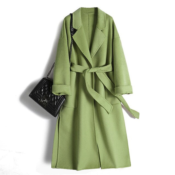 Double-faced Cashmere Coat Women's Long Section Wool Coat Over The Knee Loose Large Size 2019  Winter New Coat Female Cc10232