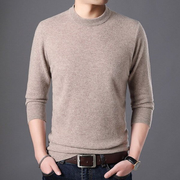 Men Spring And Autumn 100% Cashmere Sweater Warm Mens Knitted Wool Sweaters Solid Color Casual O-Neck Pull Homme Pullover Men