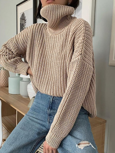 WOTWOY Autumn Winter Knitted Turtleneck Sweater Women Thick Long Oversized Sweaters Women Solid Cashmere Pullovers Korean Tops