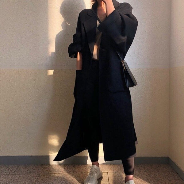 Cashmere coat women 2019 autumn and winter loose long big oversize long casual