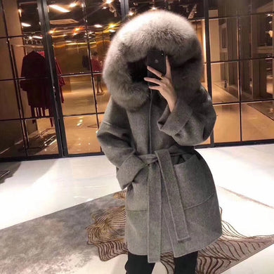 Women Cashmere Coats Double Side Wool Coat Big Fox Fur Collar Overcoat 2019  Winter Long Cashmere Hooded Cap Outerwear
