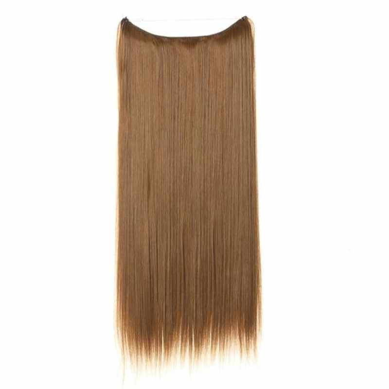 Light Brown #10 Halo Style with an adjustable invisible wire Fishing String 100% Remy Human Hair Extensions