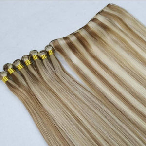Dark Blonde Mixed with Platinum Blonde #18/613 Hand-tied Weft 100% Human Hair Extensions