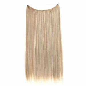 Dark Blonde mixed with Platinum Blonde #18/613 Halo Style with an adjustable invisible wire Fishing String 100% Remy Human Hair Extensions