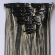Load image into Gallery viewer, Off Black mixed with Platinum Blonde #1B/613 Highlighted Clip-In 100% Human Hair Extensions