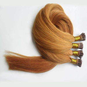 Strawberry Blonde #27 I-Tip (Stick Tip) Beaded Fusion Pre-Bonded 100% Remy Human Hair Extensions
