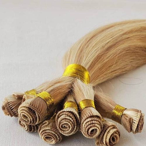 #8-613 ash brown mixed with platinum Tap Hand-Tied Weft Hair front 2