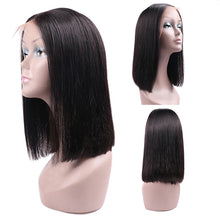 Load image into Gallery viewer, Straight Bob L Part Lace Wig Human Virgin Natural Black Hair