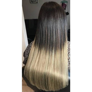Color: Balayage, #T2-18/613 .The top is #2 (Dark Brown) to a #18/613(Highlighted- Dark Blonde with Platinum Blonde) on the bottom.