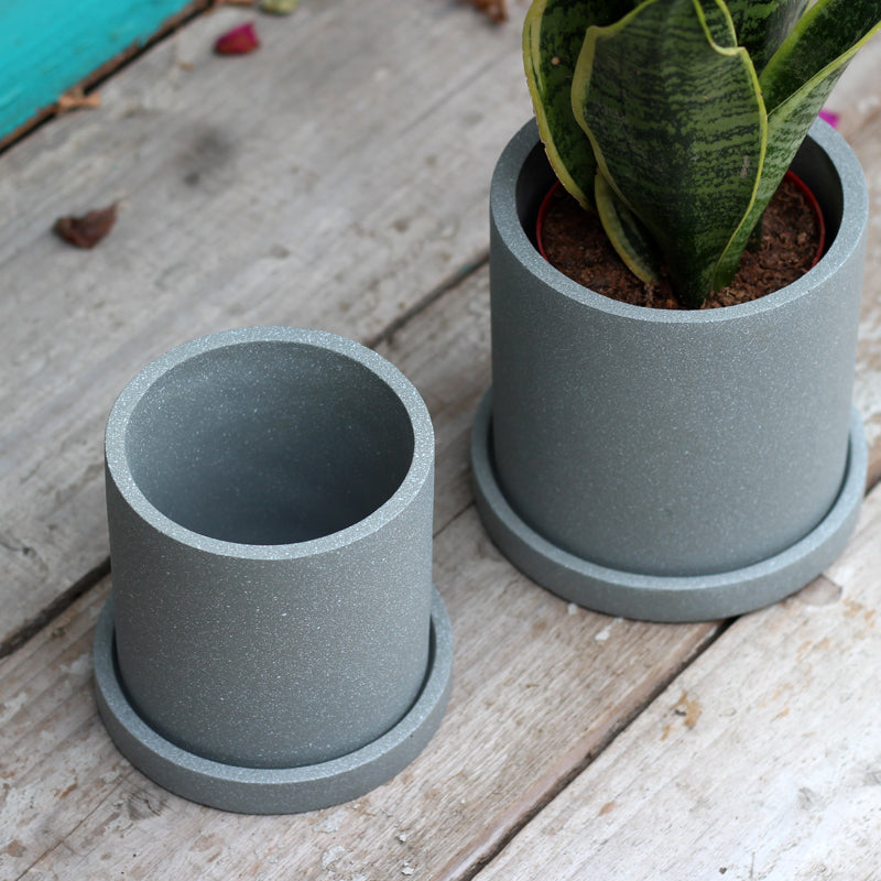 """The Concrete Jungle"" Cylinder Planter & Dish"
