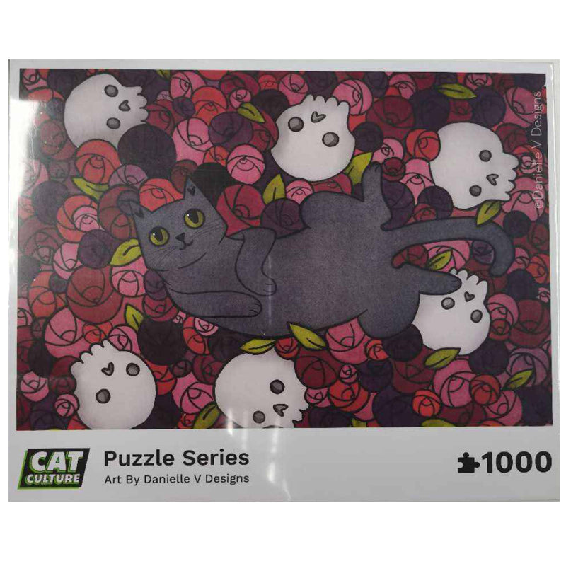 """Hardcore Kitty"" Exclusive Cat & Skull Puzzle by Cat Culture"