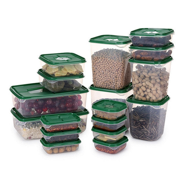 17Pcs/set Keep Fresh Food Storage Box Refrigerator Food Container Sealed Crisper Grain Dried Storage Jar Tank Kitchen Organizer