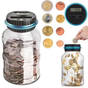 1.8L Piggy Bank Counter Coin Electronic Digital LCD Counting Coin Money Saving Box Coins Storage Box For USD/EURO/GBP