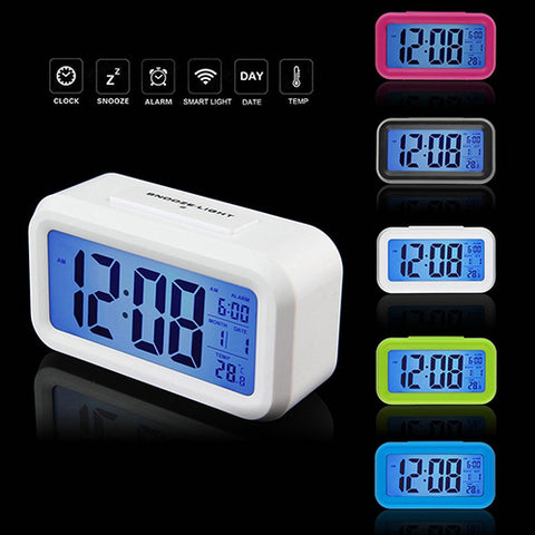 Digital Multifunction LED Backlight Time Calendar Snooze Thermometer Alarm Clock