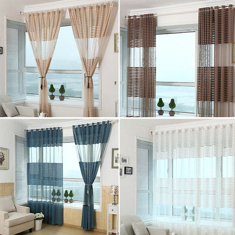 Living Room Balcony Modern Striped Window Tulle Voile Sheer Curtains Drape Decor