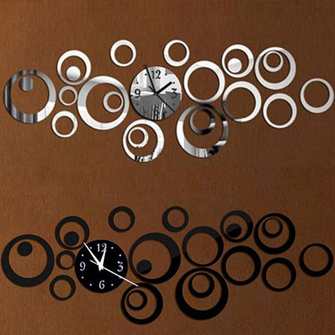 Modern Round Mirror Style Wall Sticker Clock Removable Decal Art Home Decor