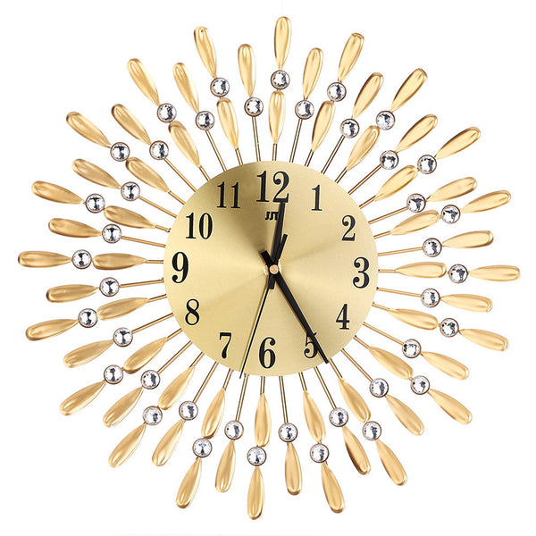 15inch 3D Large Wall Clock Shiny Rhinestone Sun Style Modern Living Room Decor
