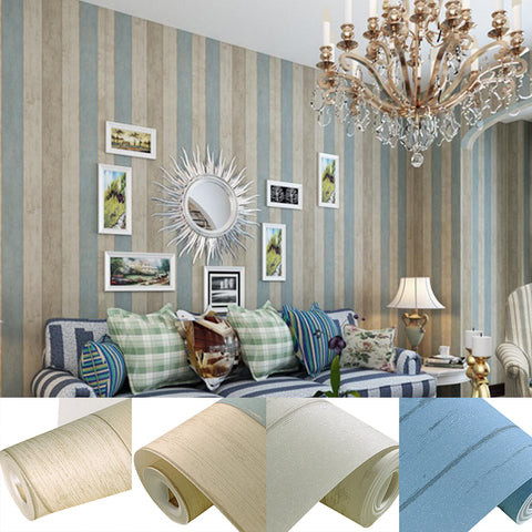 Non-Woven Fabric Vertical Wood Plank Panel Stripe Wallpaper Living Room Decor
