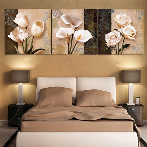Unframed 3 Pieces Wall Art Flower Paintings Poster Home Living Room Decoration