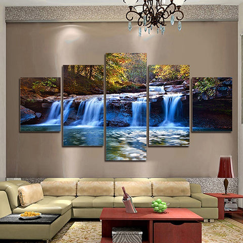 5 Pcs/Set Unframed Waterfall Wall Art Pictures for Living Room Home Decoration