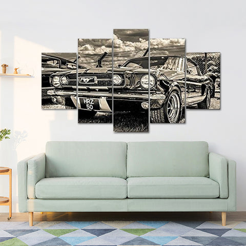 5 Pcs/Set Vintage Car Unframed Decorative Painting Wall Living Room Art Decor