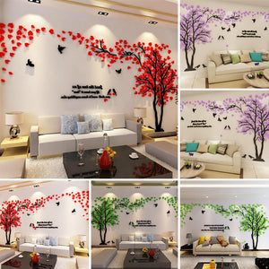 3D Bedroom Sofa TV Background Living Room Adornment Tree Leaves Wall Stickers