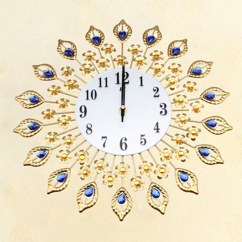 Fashion Flower Rhinestone Silence Golden European Home Decor Wall Clock