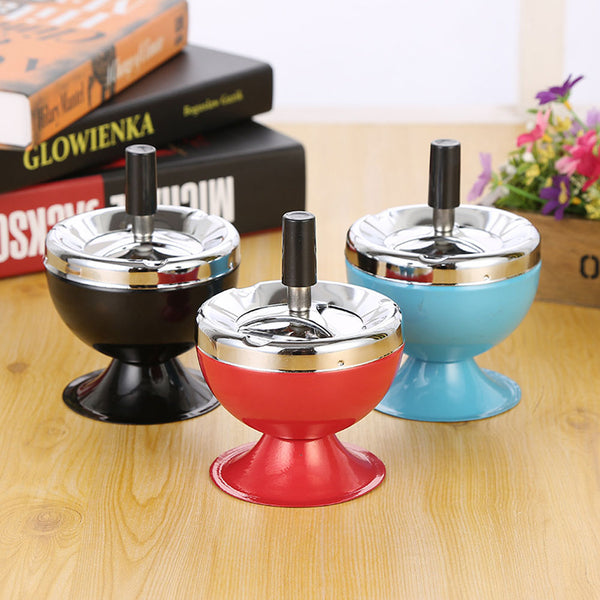 Creative Stylish Home Office Metal Windproof Rotation Lid Ashtray Smoker Gift