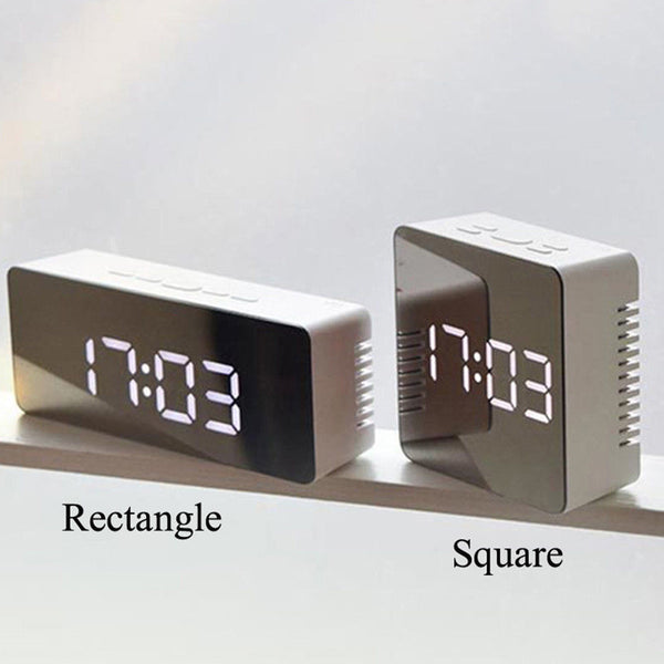 Multi-functional Mirror Electronic Alarm Clock Mini Bedside Clock Battery or Plug-in
