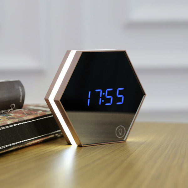 Multifunction Mirror Surface Alarm Clock Rechargeable Digital LED Lamp Clock