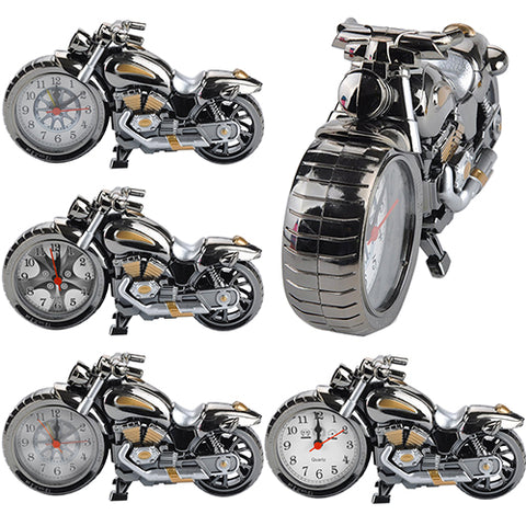 Cool Motorcycle Design Quartz Alarm Clock Time Keeper Desktop Decor Timepiece