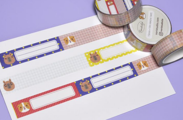 NORISTUDIO Bubu and Moonch Label Washi Tape for Planner
