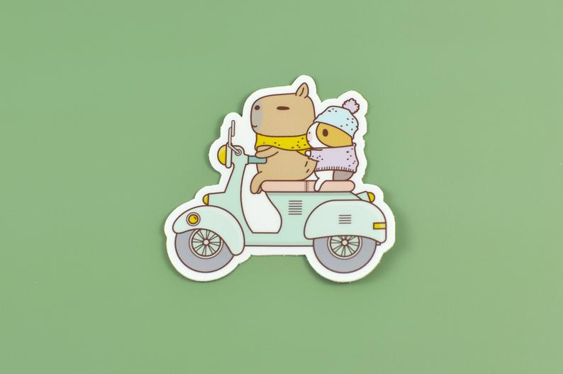 NORISTUDIO Bubu and Moonch Riding Scooter Vinyl Sticker