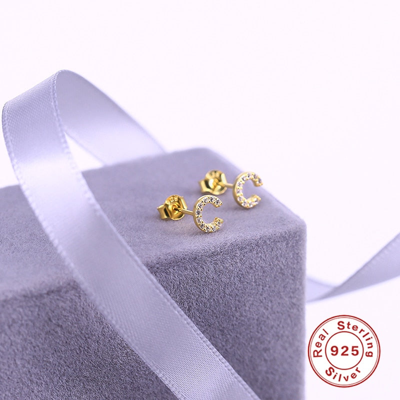1 Pair Of Cute Mini 925 Sterling Silver Geometric English Letters Stud