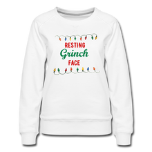 Load image into Gallery viewer, Resting Grinch Face Women's Premium Sweatshirt - white
