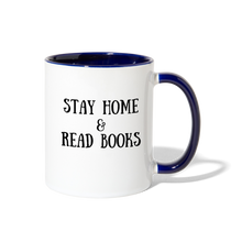 Load image into Gallery viewer, Stay Home & Read Books Contrast Coffee Mug - white/cobalt blue