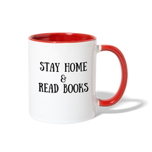 Load image into Gallery viewer, Stay Home & Read Books Contrast Coffee Mug - white/red