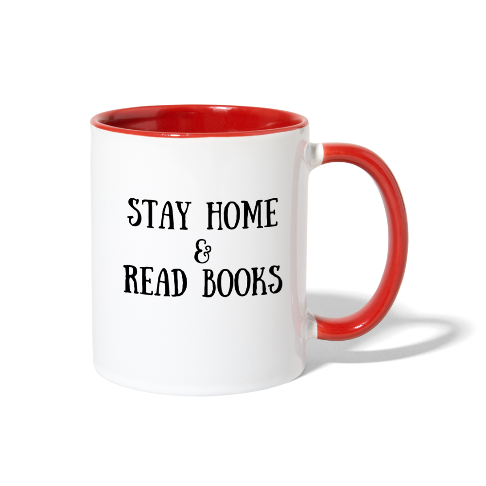 Stay Home & Read Books Contrast Coffee Mug - white/red