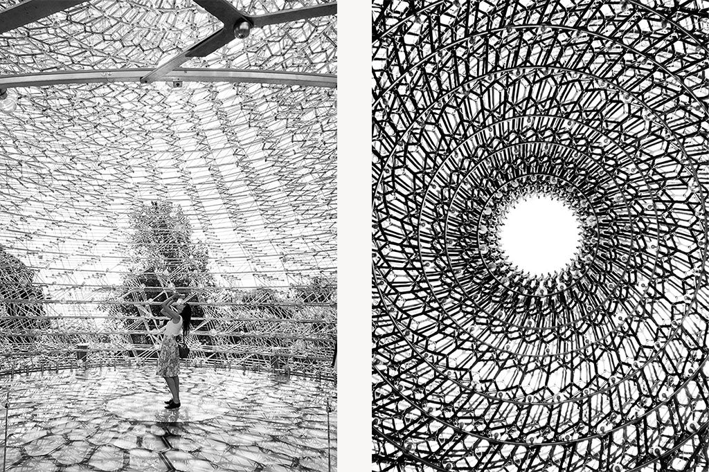 Two photos from inside 'The Hive' sculpture at Kew Gardens