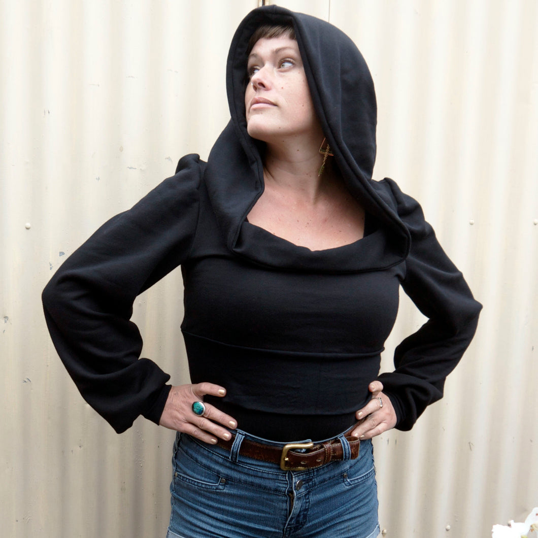 Juno Crop Hoody - Midnight Black
