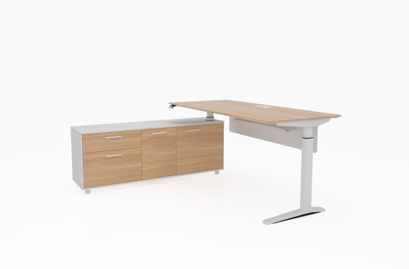 Potenza™ Electric Height Adjustable Desk With Right or Left Side Buffet - KiPP